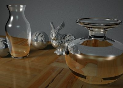 Maya - Texturing glass and chrome (I created the vase on the right by hand)